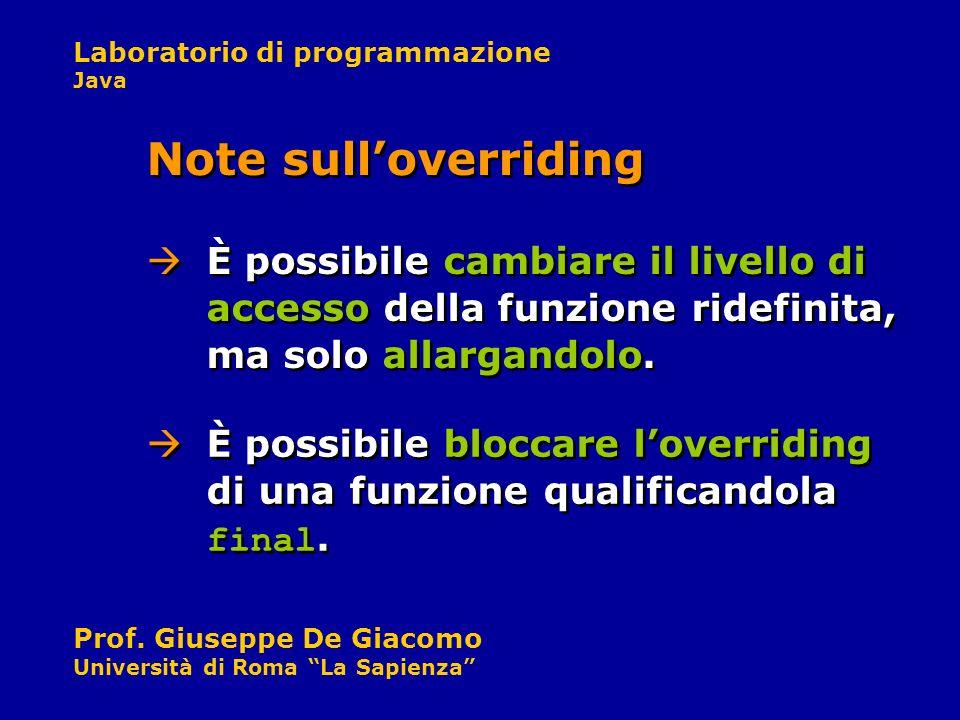 Note sull'overridingÈ possibile cambiare il livello di accesso della funzione ridefinita, ma solo allargandolo.