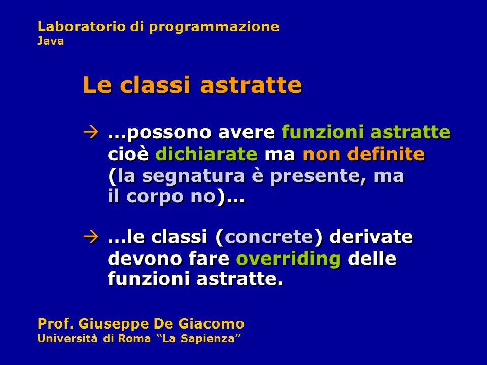 Le classi astratte …possono avere funzioni astratte cioè dichiarate ma non definite (la segnatura è presente, ma il corpo no)…