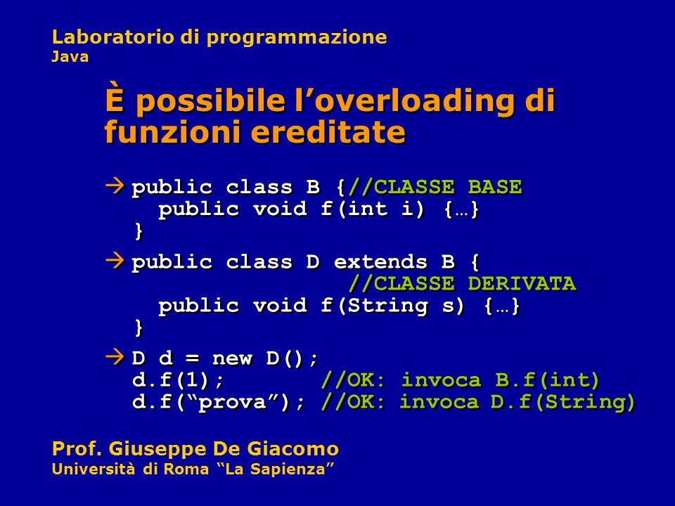 È possibile l'overloading di funzioni ereditate