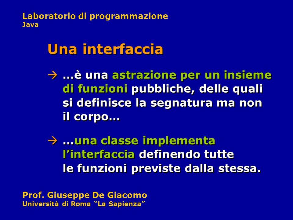 Una interfaccia …è una astrazione per un insieme di funzioni pubbliche, delle quali si definisce la segnatura ma non il corpo…