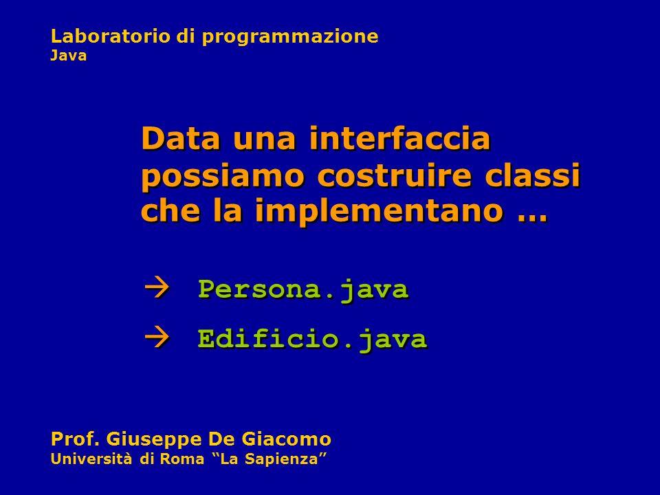 Data una interfaccia possiamo costruire classi che la implementano …