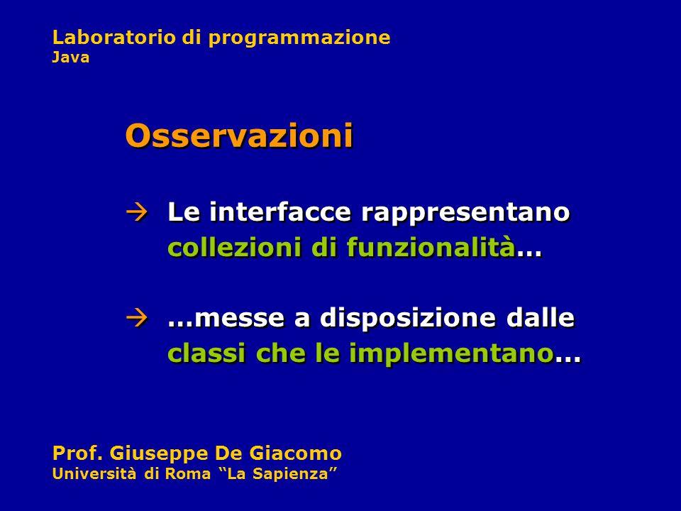 Osservazioni Le interfacce rappresentano collezioni di funzionalità…