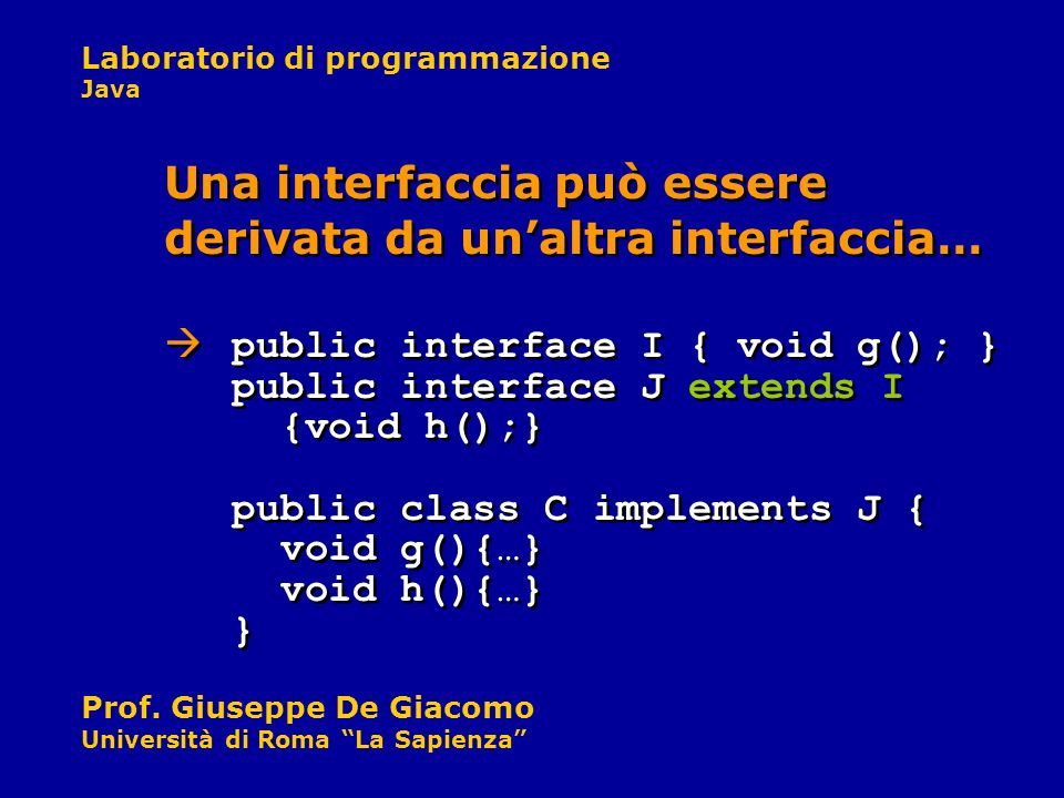 Una interfaccia può essere derivata da un'altra interfaccia…