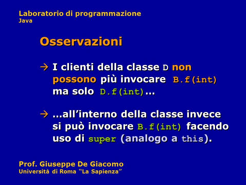 Osservazioni I clienti della classe D non possono più invocare B.f(int) ma solo D.f(int)…