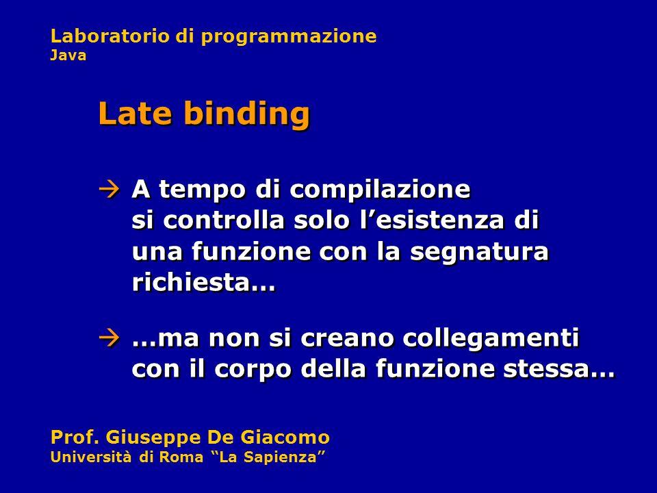 Late bindingA tempo di compilazione si controlla solo l'esistenza di una funzione con la segnatura richiesta…