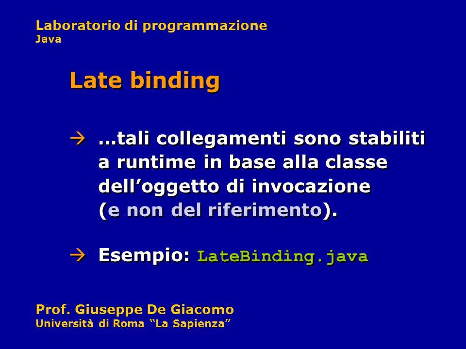 Late binding …tali collegamenti sono stabiliti a runtime in base alla classe dell'oggetto di invocazione (e non del riferimento).