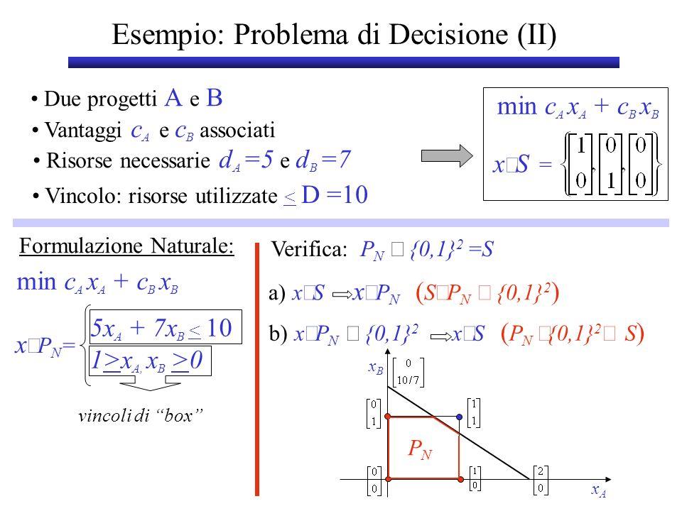 Esempio: Problema di Decisione (II)