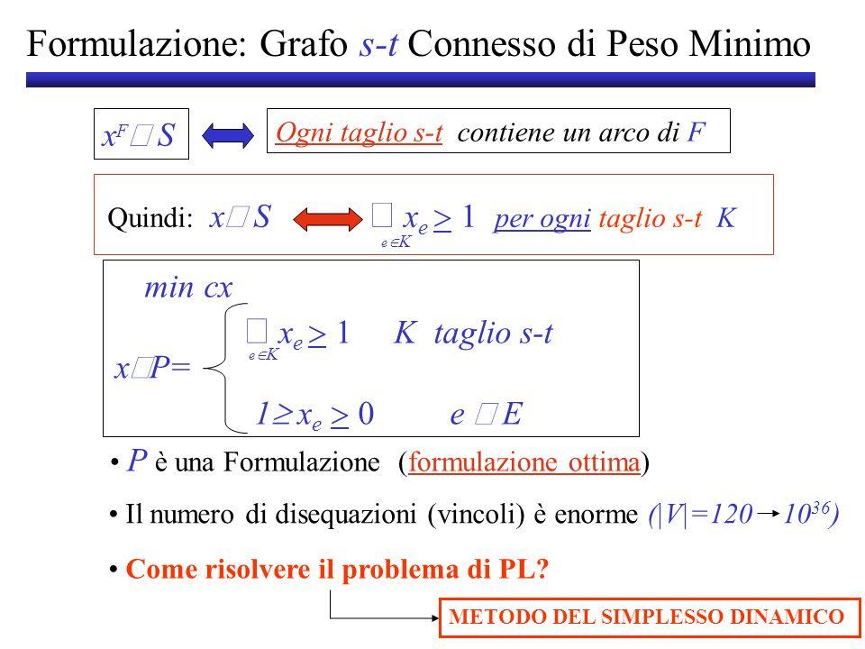 Formulazione: Grafo s-t Connesso di Peso Minimo
