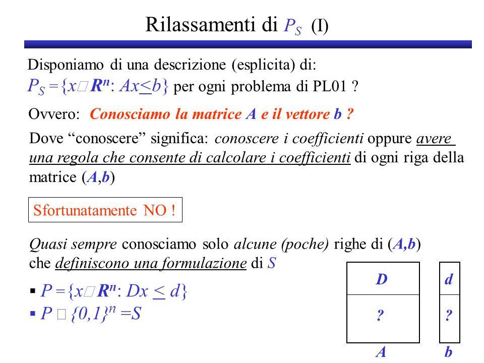 Rilassamenti di PS (I) Disponiamo di una descrizione (esplicita) di: PS ={xÎ Rn: Ax<b} per ogni problema di PL01
