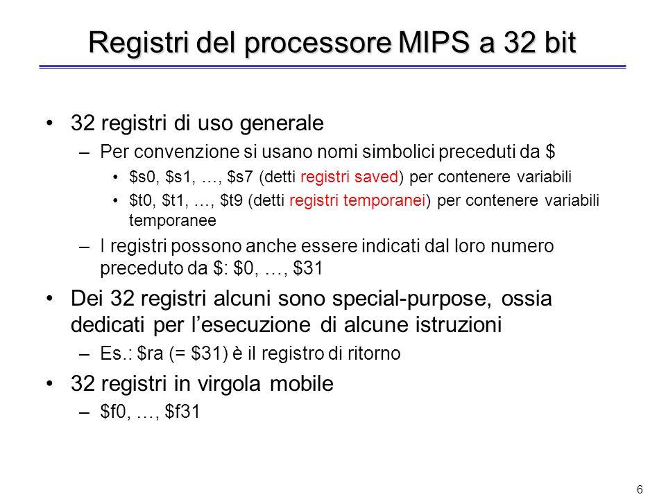 Registri del processore MIPS a 32 bit