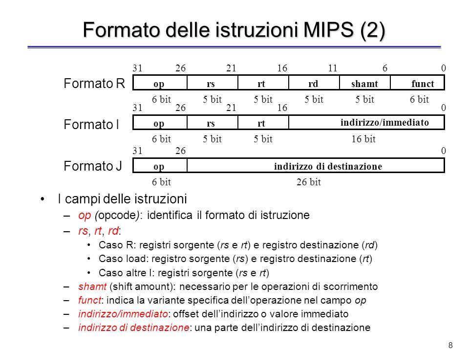 Formato delle istruzioni MIPS (2)