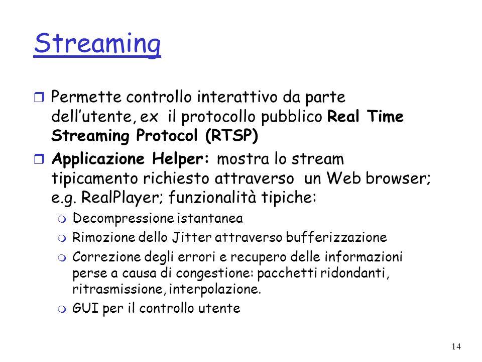 Streaming Permette controllo interattivo da parte dell'utente, ex il protocollo pubblico Real Time Streaming Protocol (RTSP)