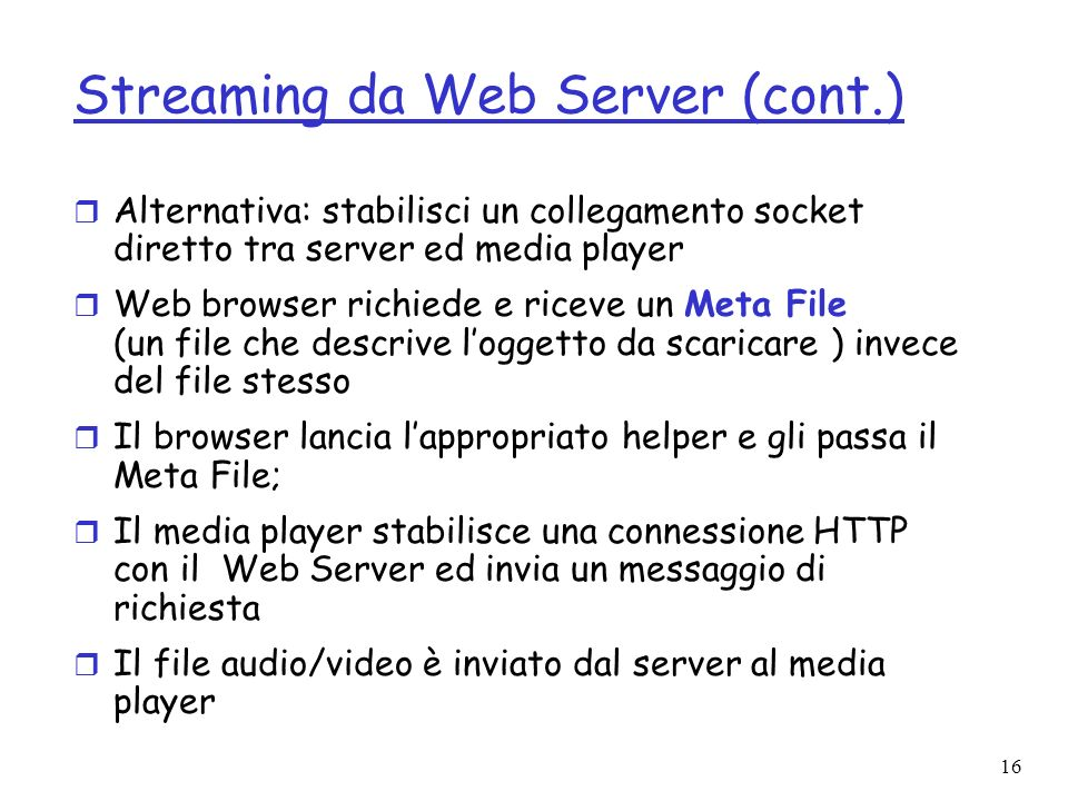 Streaming da Web Server (cont.)