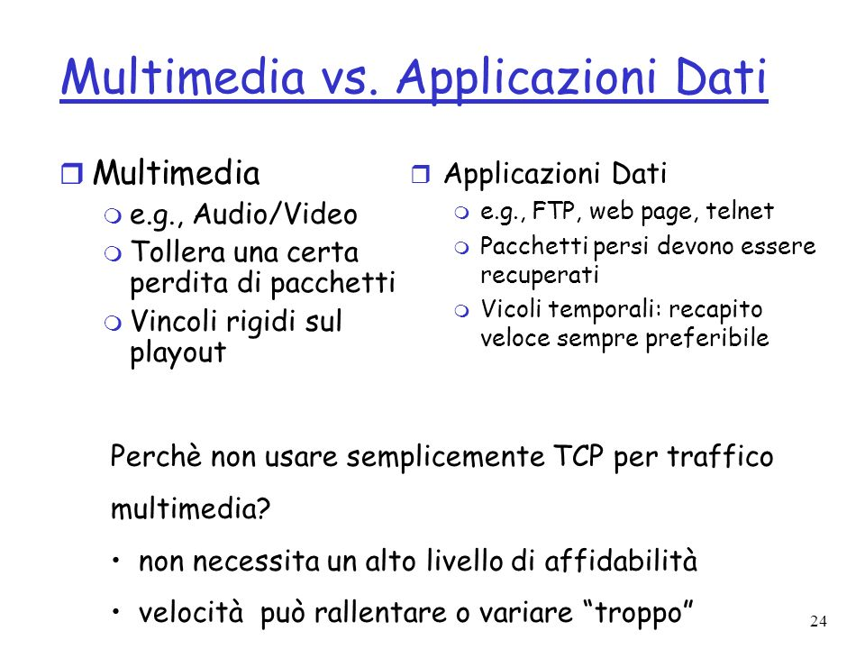 Multimedia vs. Applicazioni Dati