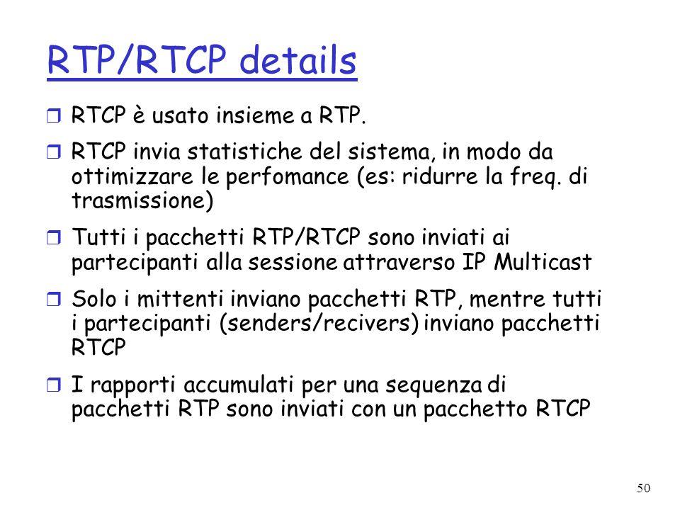 RTP/RTCP details RTCP è usato insieme a RTP.