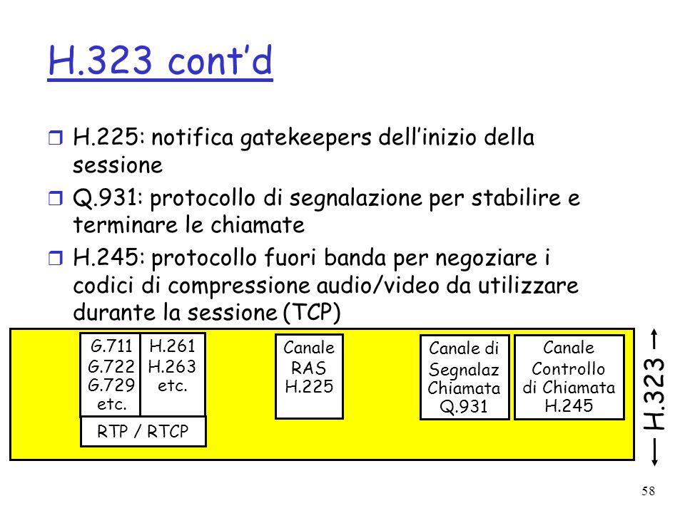 H.323 cont'd H.225: notifica gatekeepers dell'inizio della sessione. Q.931: protocollo di segnalazione per stabilire e terminare le chiamate.