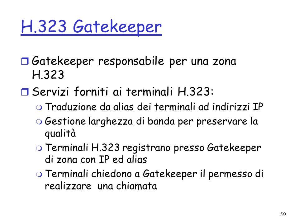 H.323 Gatekeeper Gatekeeper responsabile per una zona H.323