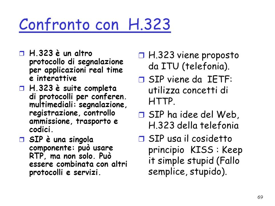 Confronto con H.323 H.323 viene proposto da ITU (telefonia).