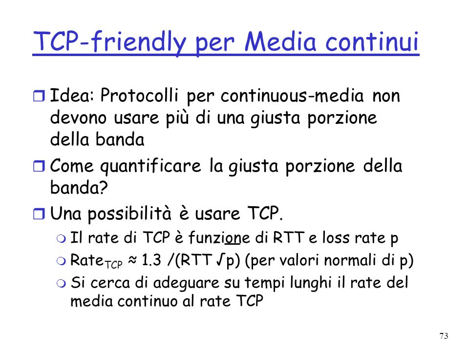 TCP-friendly per Media continui