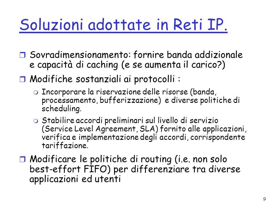 Soluzioni adottate in Reti IP.