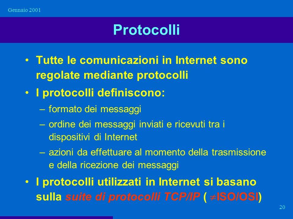 Gennaio 2001 Protocolli. Tutte le comunicazioni in Internet sono regolate mediante protocolli. I protocolli definiscono: