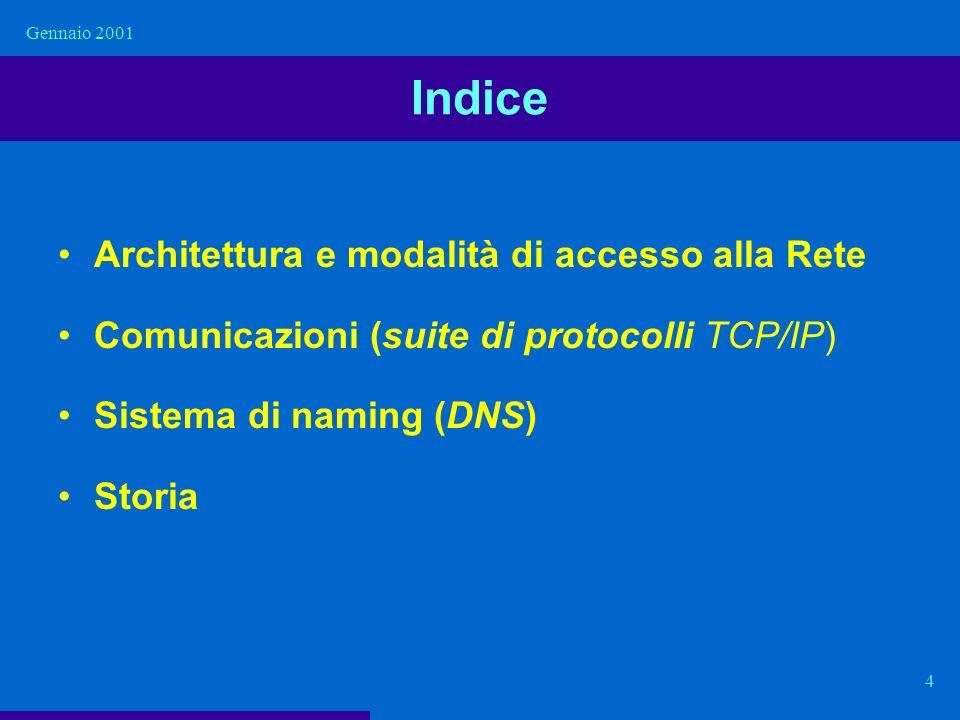 Indice Architettura e modalità di accesso alla Rete