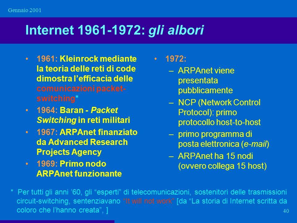 Gennaio 2001 Internet 1961-1972: gli albori.