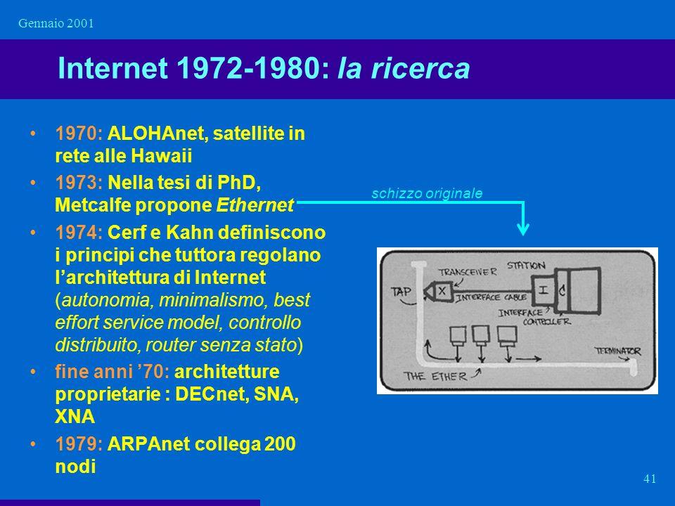 Gennaio 2001 Internet 1972-1980: la ricerca. 1970: ALOHAnet, satellite in rete alle Hawaii. 1973: Nella tesi di PhD, Metcalfe propone Ethernet.