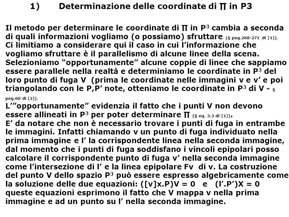 1) Determinazione delle coordinate di ∏ in P3