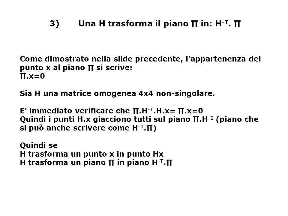 3) Una H trasforma il piano ∏ in: H-T. ∏