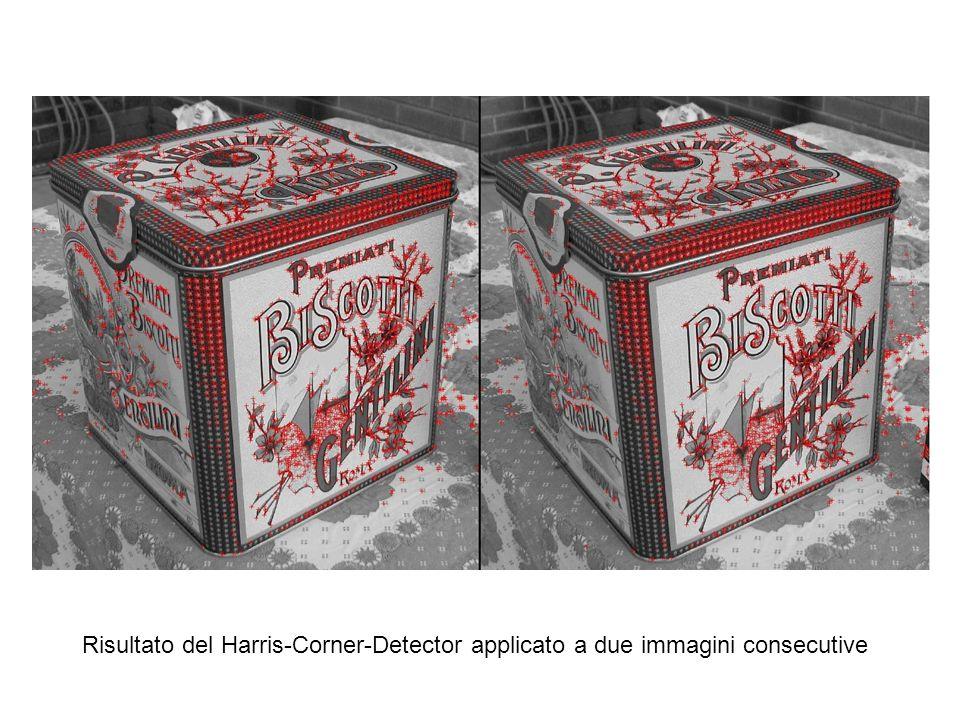 Risultato del Harris-Corner-Detector applicato a due immagini consecutive