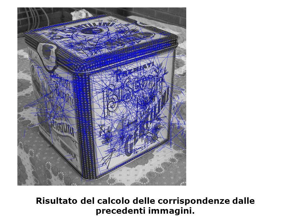 Risultato del calcolo delle corrispondenze dalle precedenti immagini.