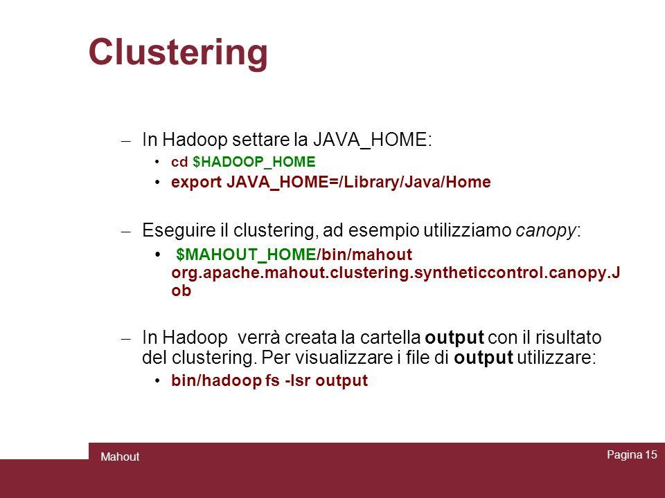 Clustering In Hadoop settare la JAVA_HOME: