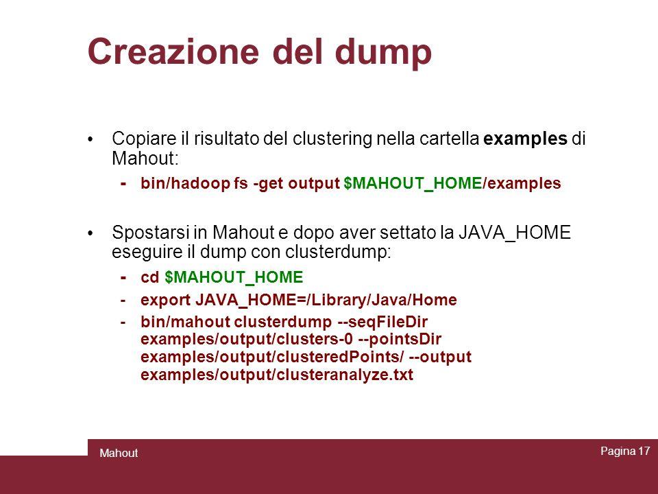 Creazione del dump Copiare il risultato del clustering nella cartella examples di Mahout: - bin/hadoop fs -get output $MAHOUT_HOME/examples.