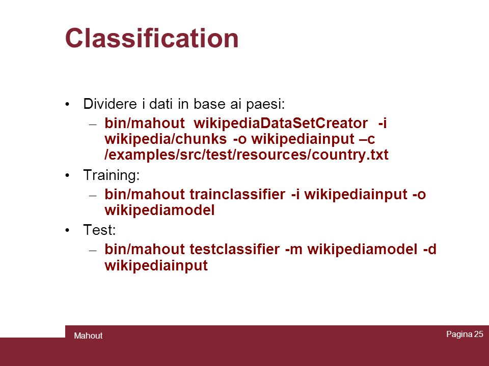 Classification Dividere i dati in base ai paesi: