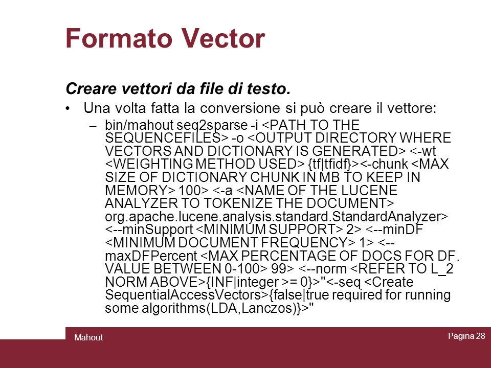 Formato Vector Creare vettori da file di testo.