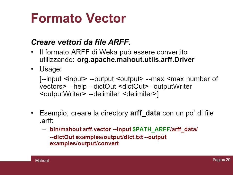 Formato Vector Creare vettori da file ARFF.