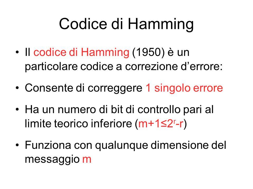 Codice di Hamming Il codice di Hamming (1950) è un particolare codice a correzione d'errore: Consente di correggere 1 singolo errore.