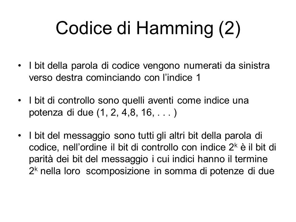 Codice di Hamming (2) I bit della parola di codice vengono numerati da sinistra verso destra cominciando con l'indice 1.