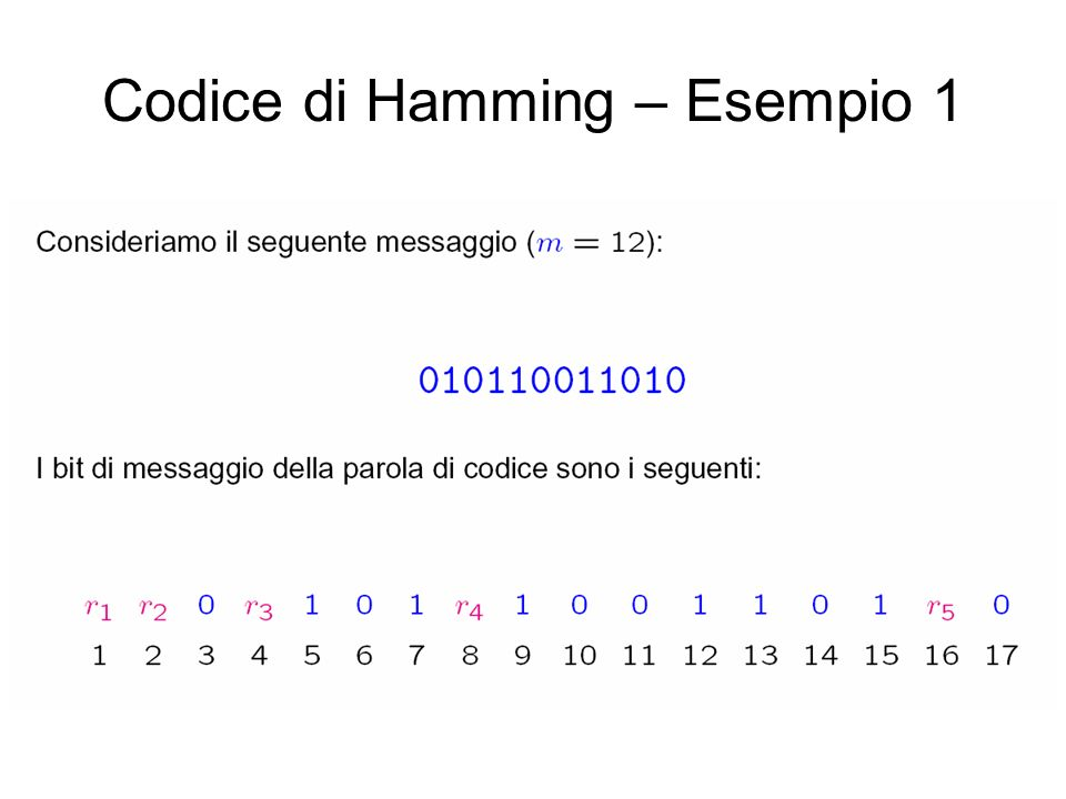 Codice di Hamming – Esempio 1