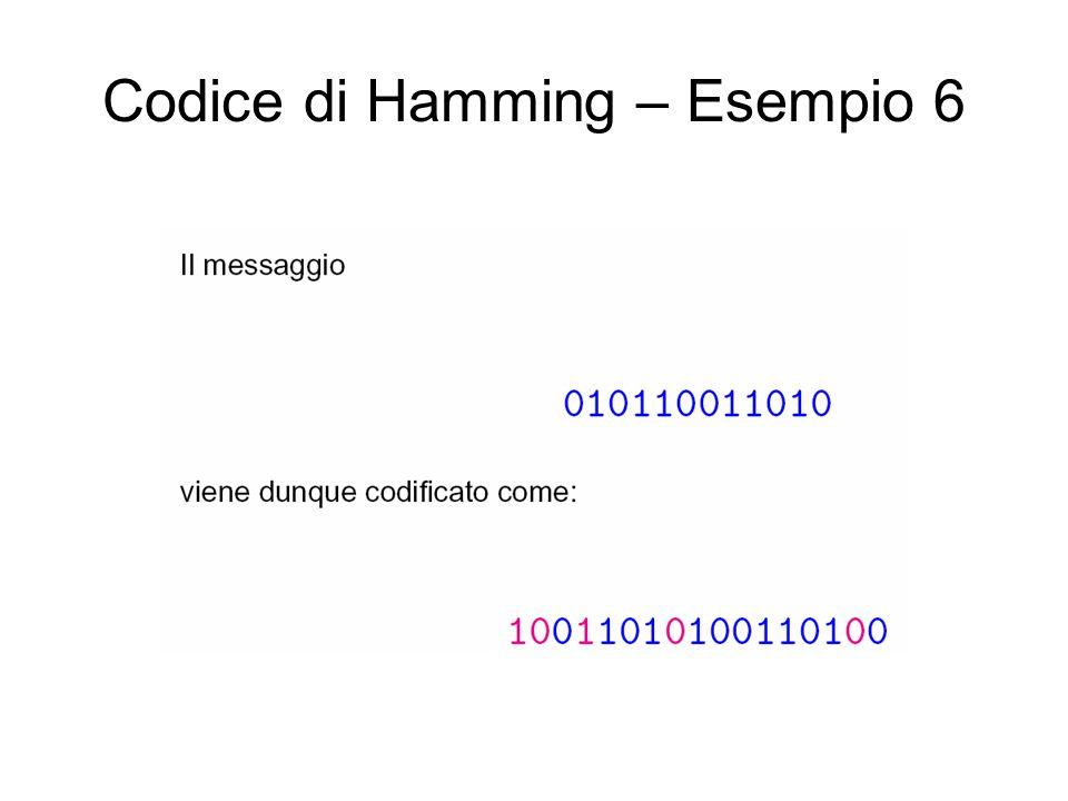 Codice di Hamming – Esempio 6