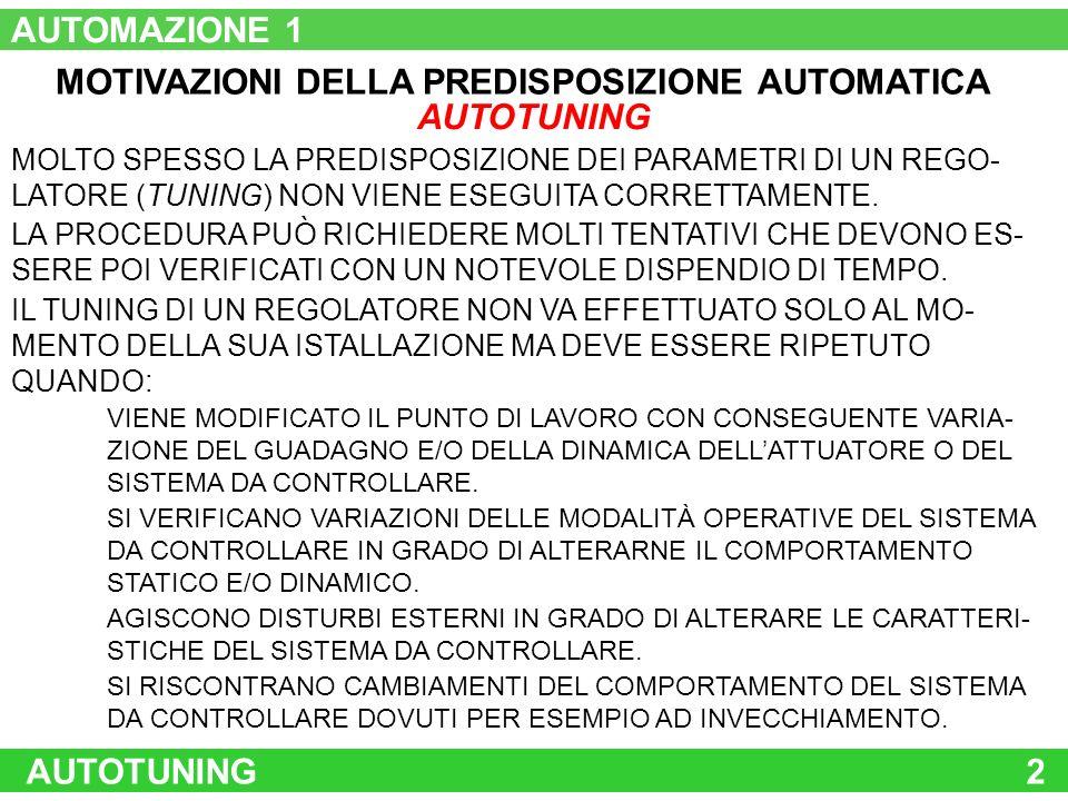 MOTIVAZIONI DELLA PREDISPOSIZIONE AUTOMATICA AUTOTUNING