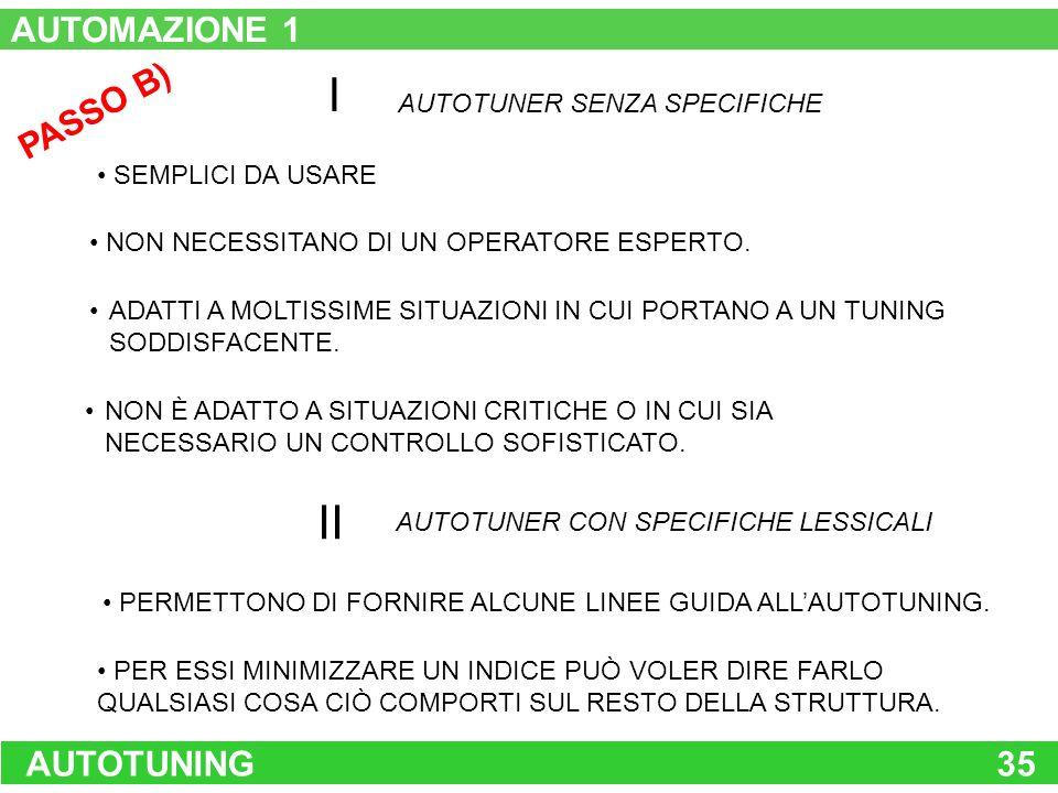 I II AUTOMAZIONE 1 PASSO B) AUTOTUNING 35 AUTOTUNER SENZA SPECIFICHE