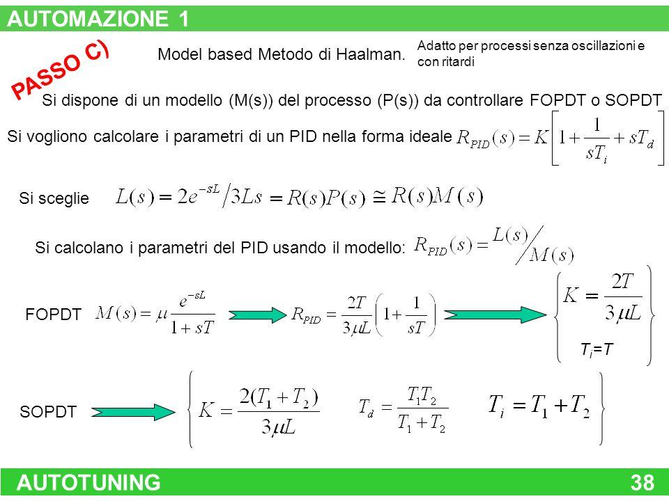 AUTOMAZIONE 1 PASSO C) AUTOTUNING 38 Model based Metodo di Haalman.