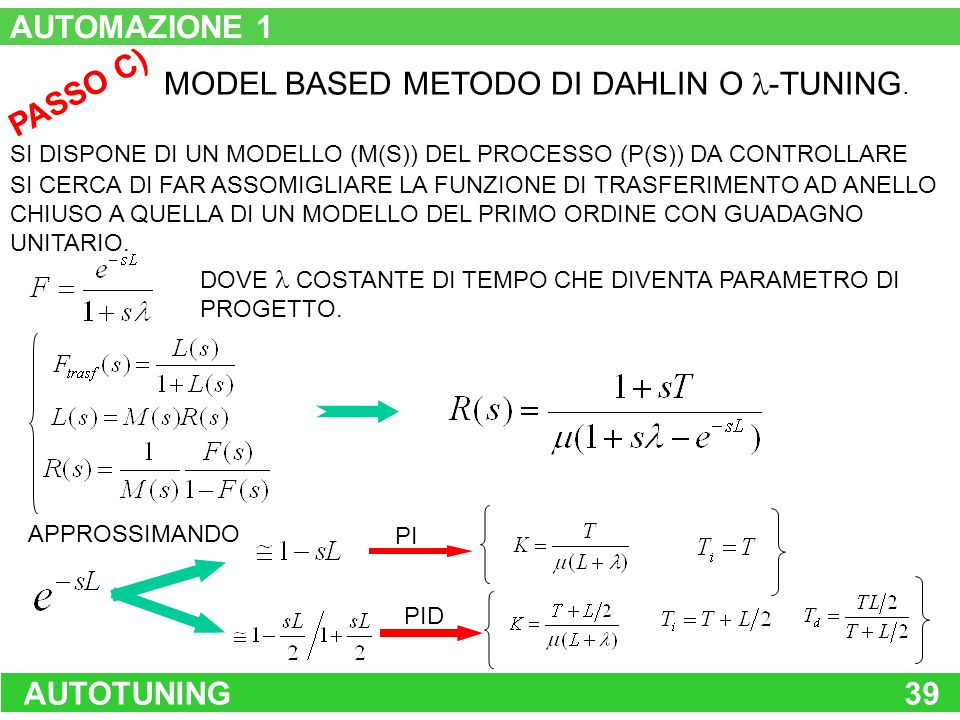 MODEL BASED METODO DI DAHLIN O -TUNING. PASSO C)