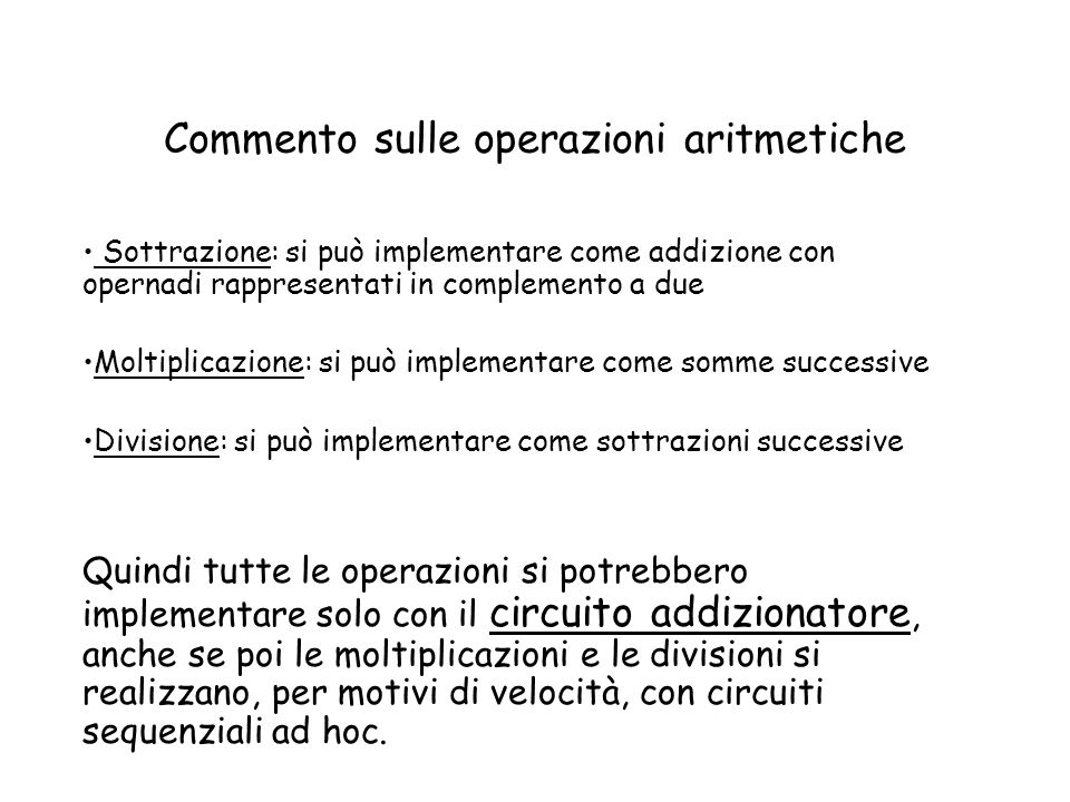 Commento sulle operazioni aritmetiche