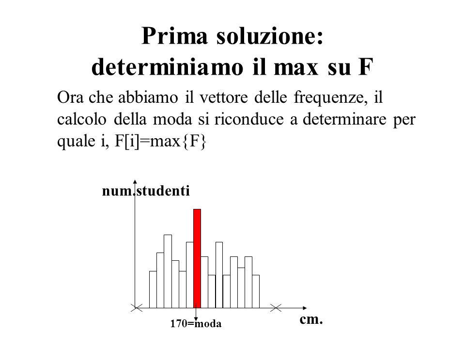 Prima soluzione: determiniamo il max su F