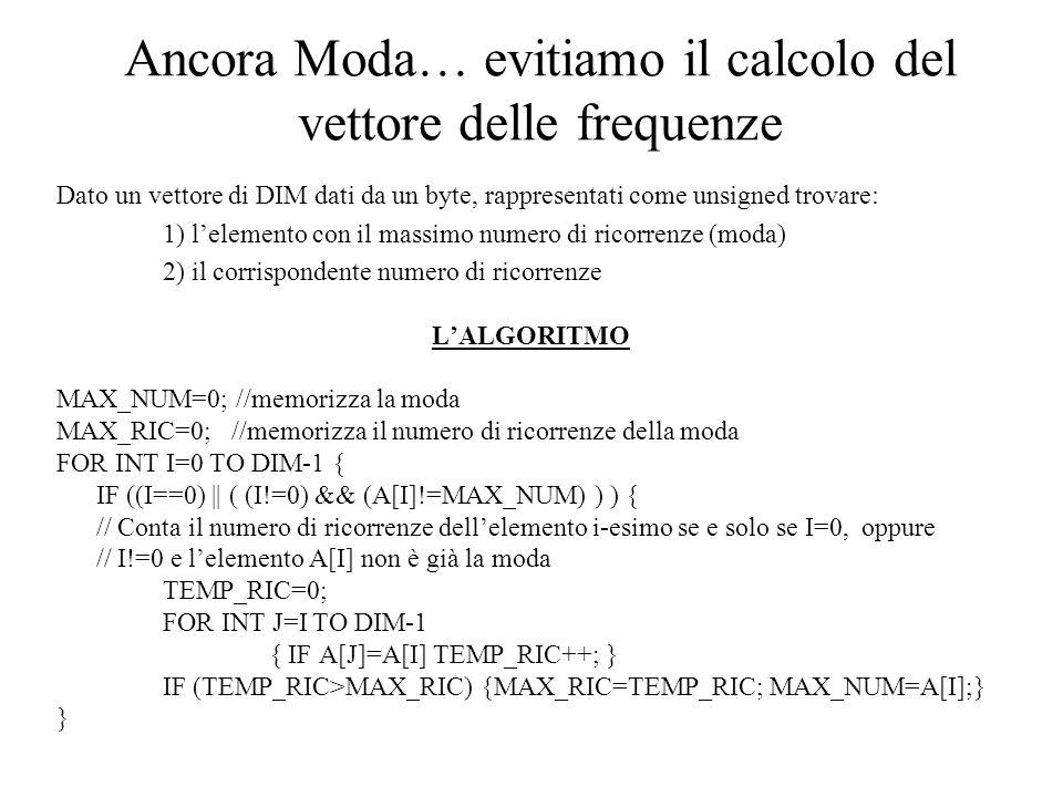 Ancora Moda… evitiamo il calcolo del vettore delle frequenze