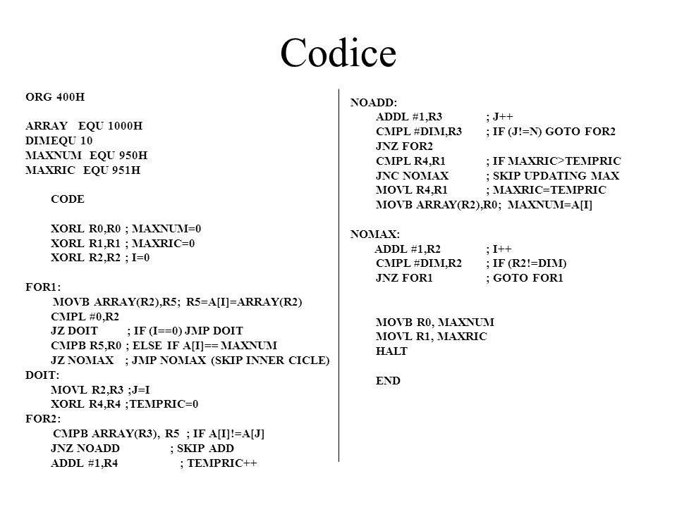 Codice ORG 400H NOADD: ARRAY EQU 1000H ADDL #1,R3 ; J++
