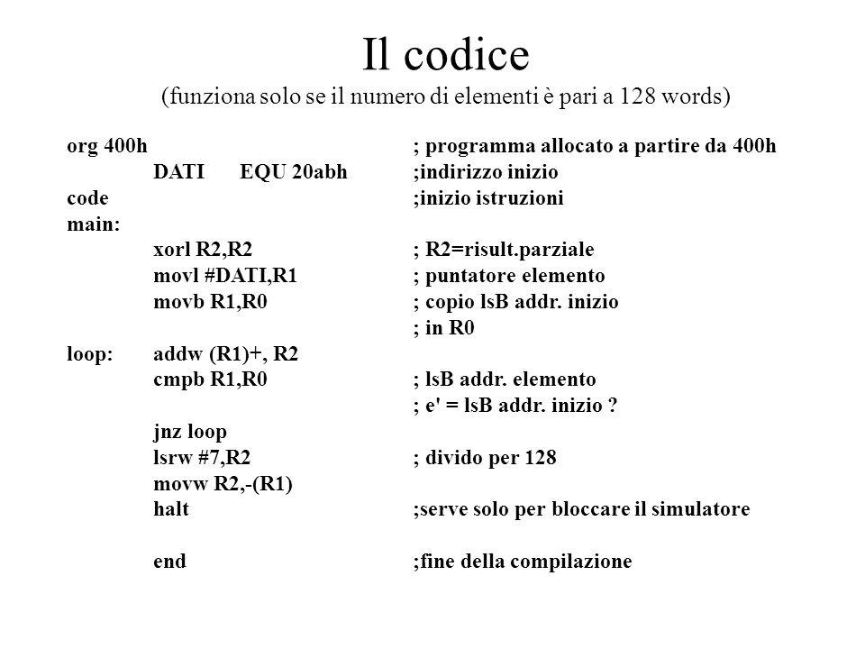 Il codice (funziona solo se il numero di elementi è pari a 128 words)